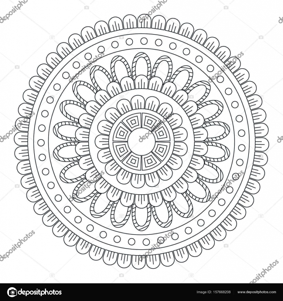 Flower Mandala Vector Illustration Oriental Pattern Vintage Decorative Elements Islam Arabic Indian Moroccan Turkish Ottoman Motifs Coloring Page