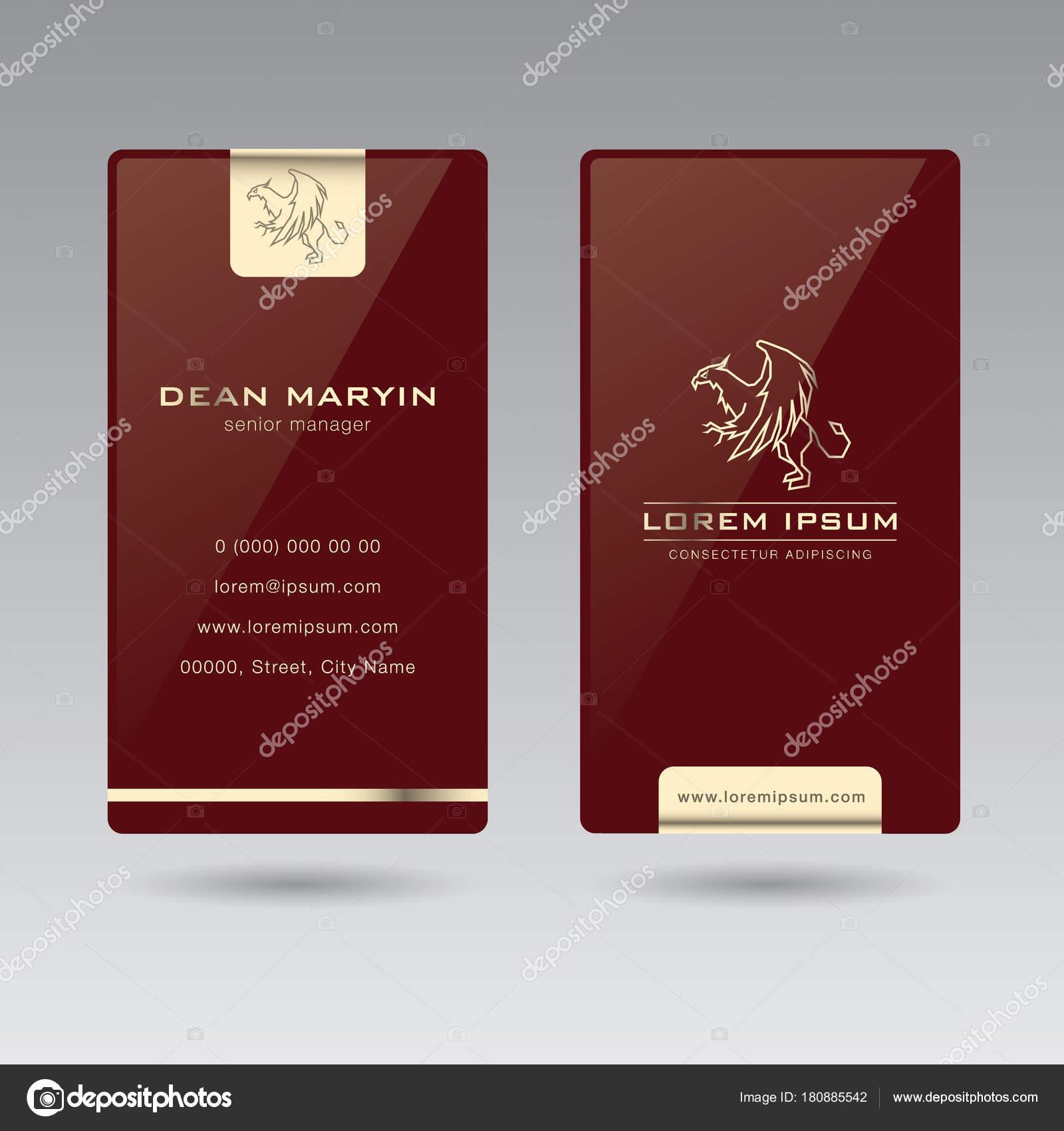 Zweiseitige Luxus Vertikale Visitenkarte Griffin02 Diese