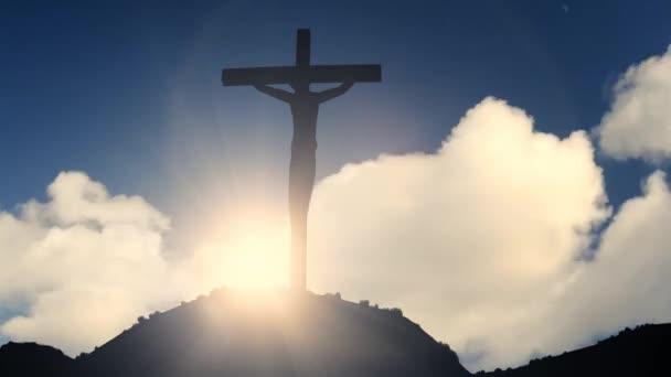 Kereszt egy dombon keresztre feszítés Jézus Krisztus keresztény vallás templom Biblia 4k