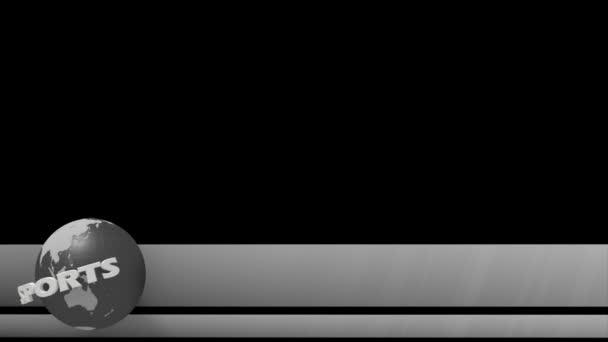 Sportovní zpravodajství svět globe nižší třetí 3 sportovní titul chyron l3rd smyčka 4k
