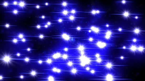 Odlesk objektivu šumivé zajiskření star světla záře pozadím 4k