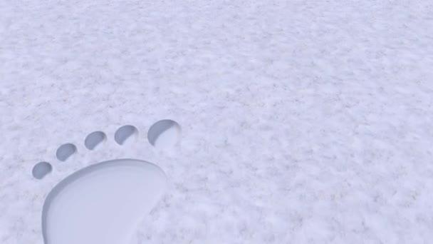 Velikost plochy stopy bosé nohy naboso ve sněhu 4k