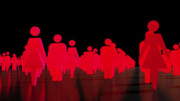 männliche weibliche Crowd People Ikonen Business Team Geschlecht 4k