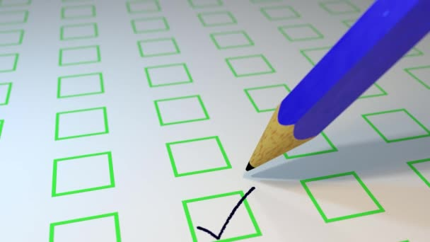 Bleistift ankreuzen Umfrage Abstimmung Prüfung Schleife 4k