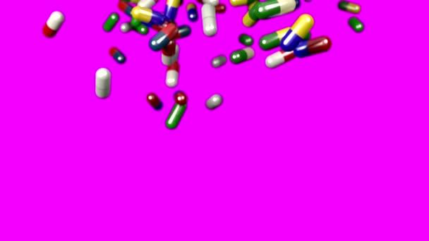 Pills drugs capsules falling slow motion closeup DOF 4K