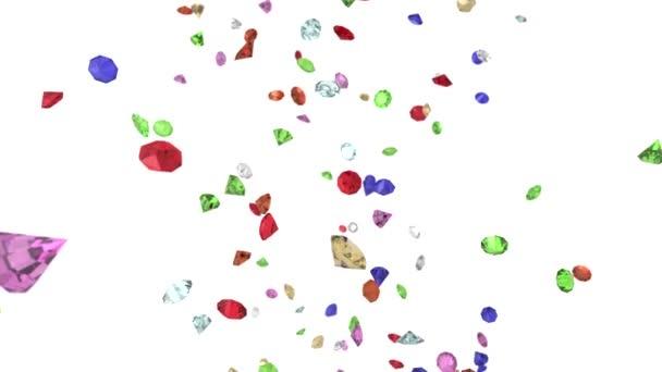 Gems diamonds gemstones ruby stones falling slow motion wedding background 4K