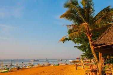 Balinese boats in Sanur beach, Bali, Indonesia.