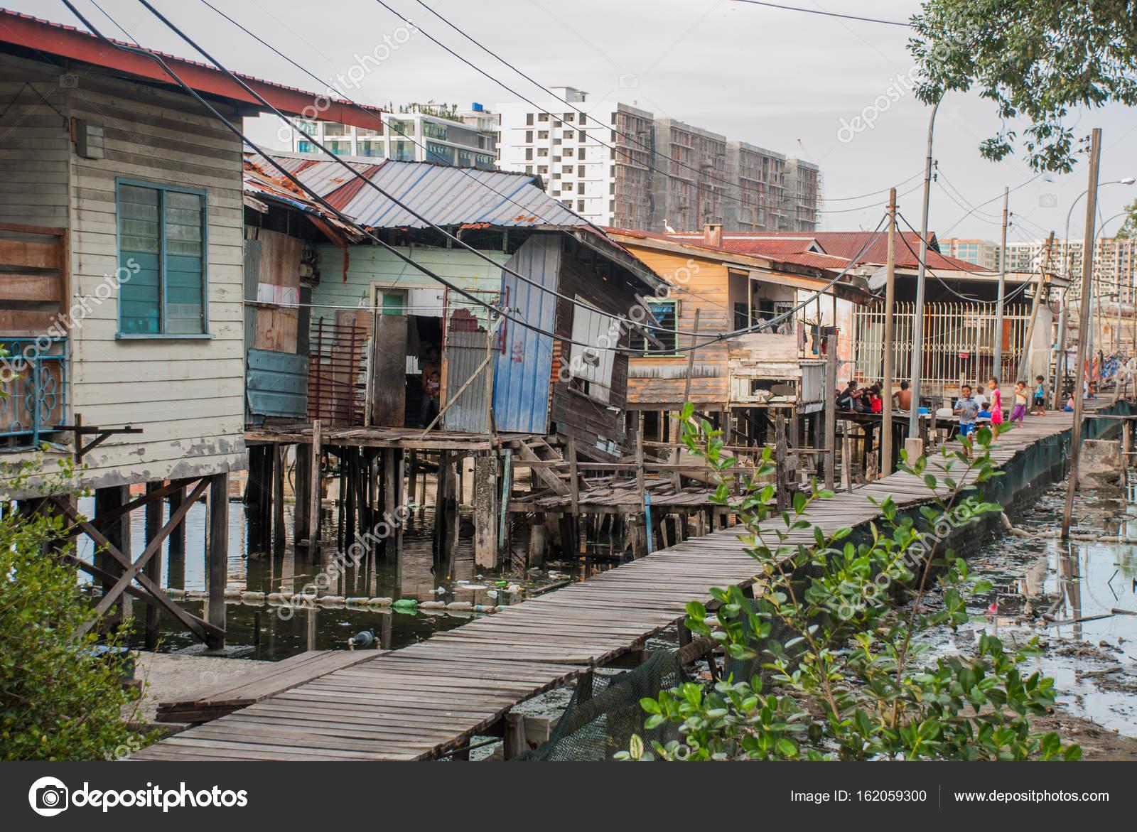 Häuser Auf Stelzen Kota Kinabalu Sabah Malaysia Redaktionelles