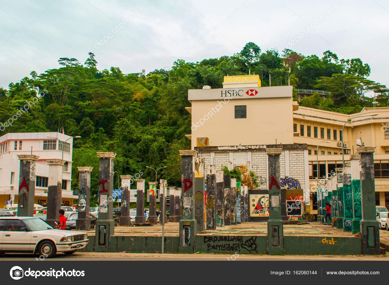 Haus Mit Graffiti Kota Kinabalu Sabah Malaysia Redaktionelles