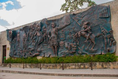 HOLGUIN, CUBA: Huge historical relief on the wall in the city center