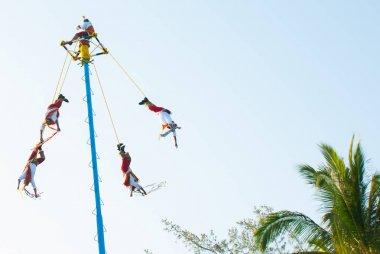 Playa del Carmen, Mexico, Riviera Maya: Dance of Los Voladores the Totonac, performing ancient ritual