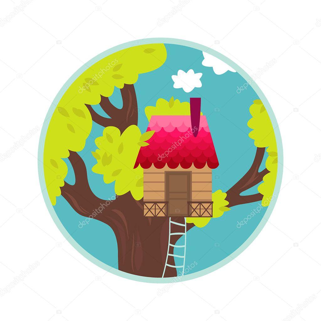 Vektor Illustration Von Cool Baumhaus Symbol Isoliert Auf Weißem  Hintergrund. Haus Am Baum Für Kinder U2014 Vektor Von Alexandriaandco