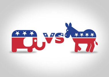 Democrat Donkey vs republican elephant. Illustration of both political party icons and logos isolated. Vote in the upcoming United States elections.