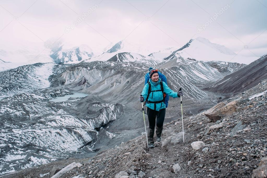 hiker woman in mountains
