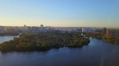 Island Velykyy Pivdennyy, aerial view of Dnipro river, aerial view of nature of Kyiv hills,Ukraine