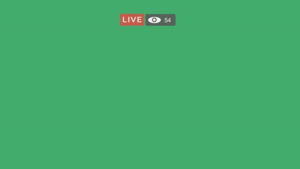 Live screen interface - Viewer counter going up in streaming live video with on alpha channel. Stock Footage