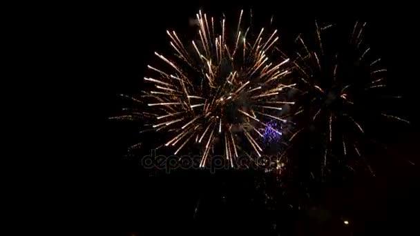 Ohňostroj vybuchující na noční obloze na den nezávislosti Izraele 2017 celebration