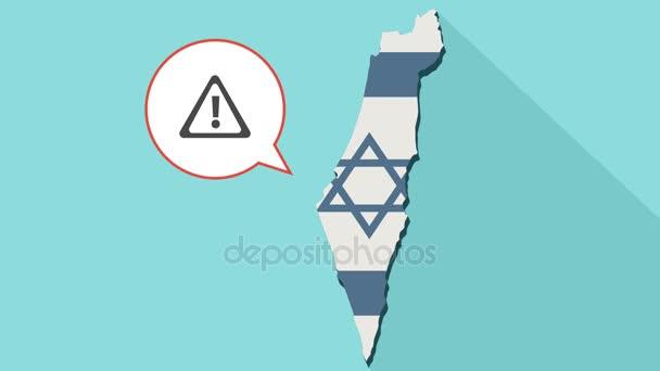 Animáció, hosszú árnyék Izrael megjelenítése a zászló és egy komikus léggömb egy figyelmeztető jel