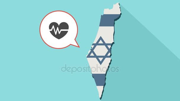 Animation of a long shadow Israel map with its flag and a comic balloon with an heart and heartbeat sign. heart care concept.