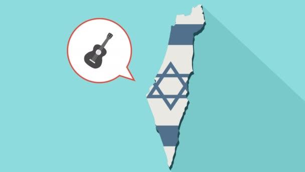 Animation einer langen Schatten-Israel-Karte mit seiner Flagge und eine Comic-Sprechblase mit einer sechs Zeichenkette Akustikgitarre