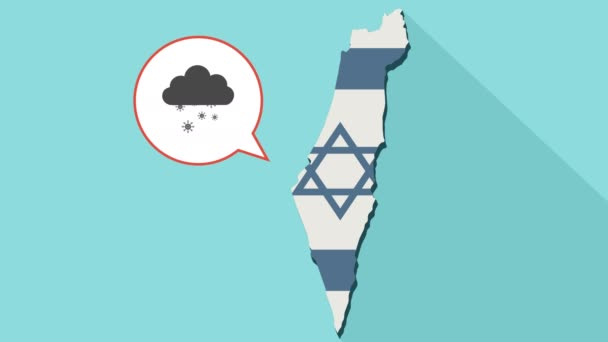 Animation of a long shadow Israel map with its flag and a comic balloon with a cloud and snow flakes
