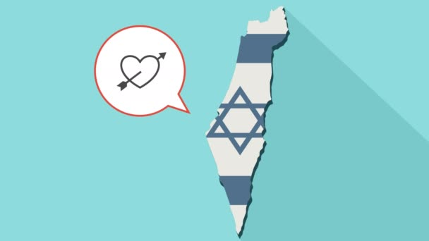 Animation of a long shadow Israel map with its flag and a comic balloon with a heart pierced by an arrow