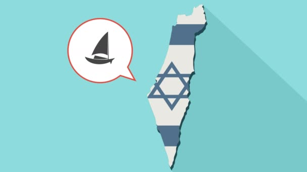 Animation of a long shadow Israel map with its flag and a comic balloon with a sailboat