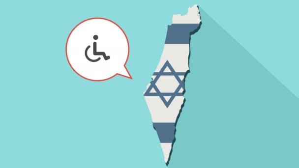 Animation einer langen Schatten-Israel-Karte mit seiner Flagge und eine Comic-Sprechblase mit einer menschlichen Figur in einem Rollstuhl-Symbol