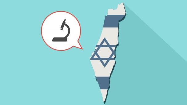 Animation einer langen Schatten Israel Karte mit seiner Flagge und ein Comic-Ballon mit einem Mikroskop-Symbol