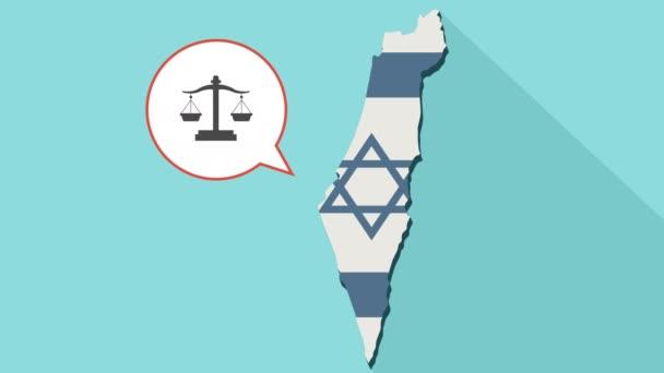 Animation einer langen Schatten Israel Karte mit seiner Flagge und eine Comic-Sprechblase mit Gerechtigkeit Gewicht Waage Zeichen