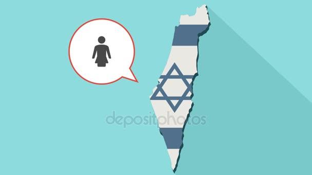 Animace dlouhý stín mapa Izraele s jeho vlajkou a komické bubliny s ženské piktogram