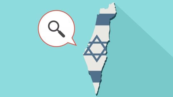 Animation einer langen Schatten-Israel-Karte mit seiner Flagge und eine Comic-Sprechblase mit einer Lupe