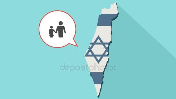 Animace dlouhý stín mapa Izraele s jeho vlajkou a komické bubliny s mužského neúplné rodiny piktogram