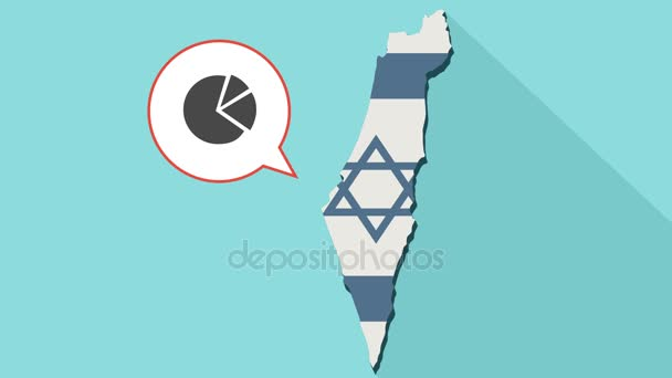 Animation of a long shadow Israel map with its flag and a comic balloon with pie chart
