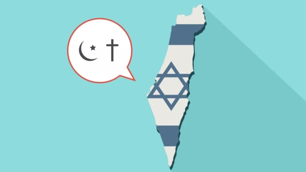 Animation of a long shadow Israel map with its flag and a comic balloon with christianity and islam religions symbols