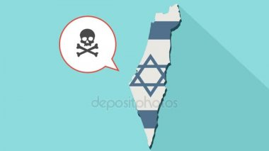 Animation of a long shadow Israel map with its flag and a comic balloon with a skull symbol