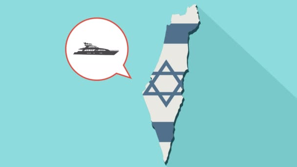 Animation of a long shadow Israel map with its flag and a comic balloon with a yacht boat