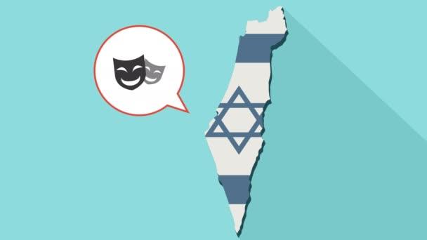 Animace dlouhý stín mapa Izraele s jeho vlajkou a komické bubliny s šťastné divadelní masky