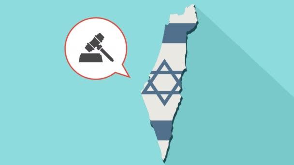 Animation einer langen Schatten-Israel-Karte mit seiner Flagge und eine Comic-Sprechblase mit einem Richterhammer