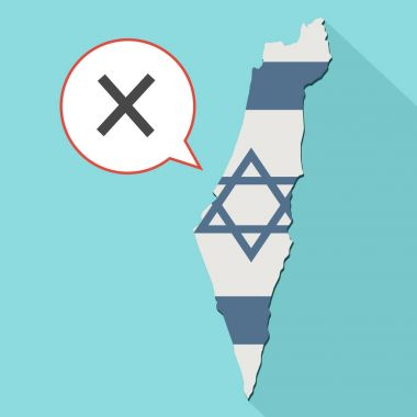 illustration of a long shadow Israel map with its flag and a comic balloon