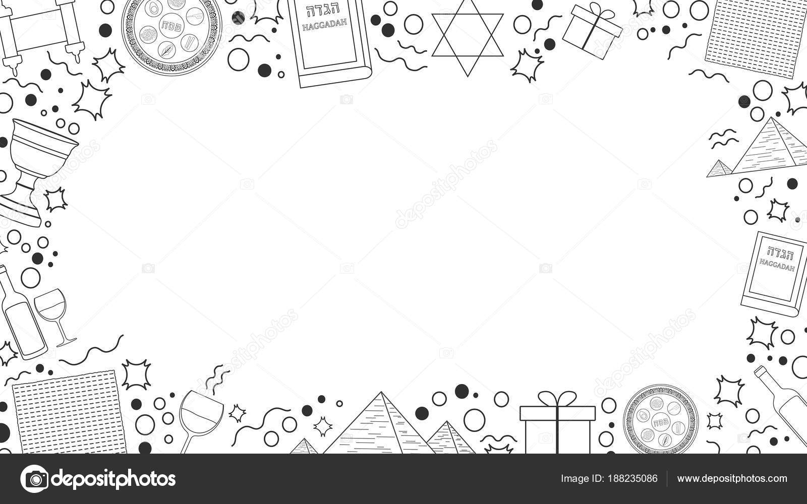 Marco con iconos de Pascua día de fiesta diseño plano línea fina ...