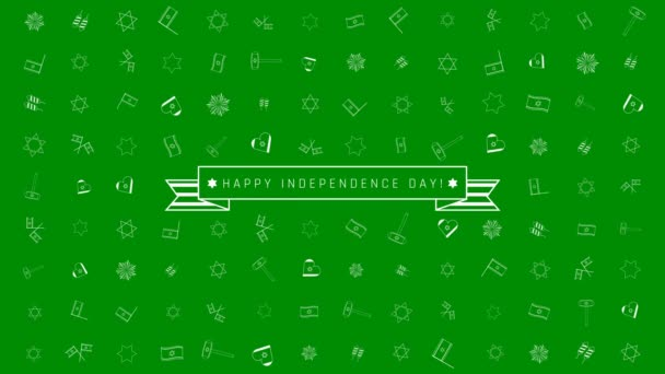Israel Independence Day holiday flat design animation background with traditional outline icon symbols and english text