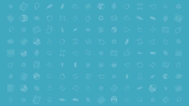 Sávuot holiday flat design animáció háttér-val hagyományos ikon (operátor)