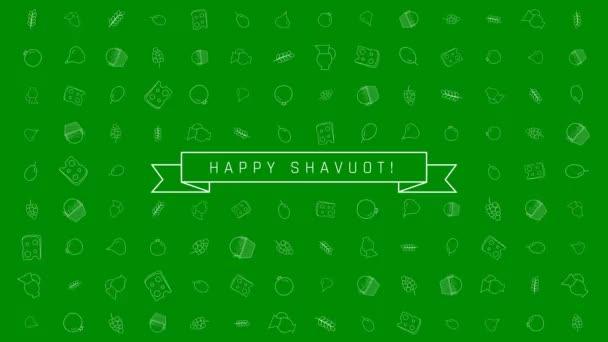 Sávuot holiday flat design animáció háttér hagyományos ikon (operátor) az angol boldog Sávuot szöveggel. az alfa-csatornát hurok.