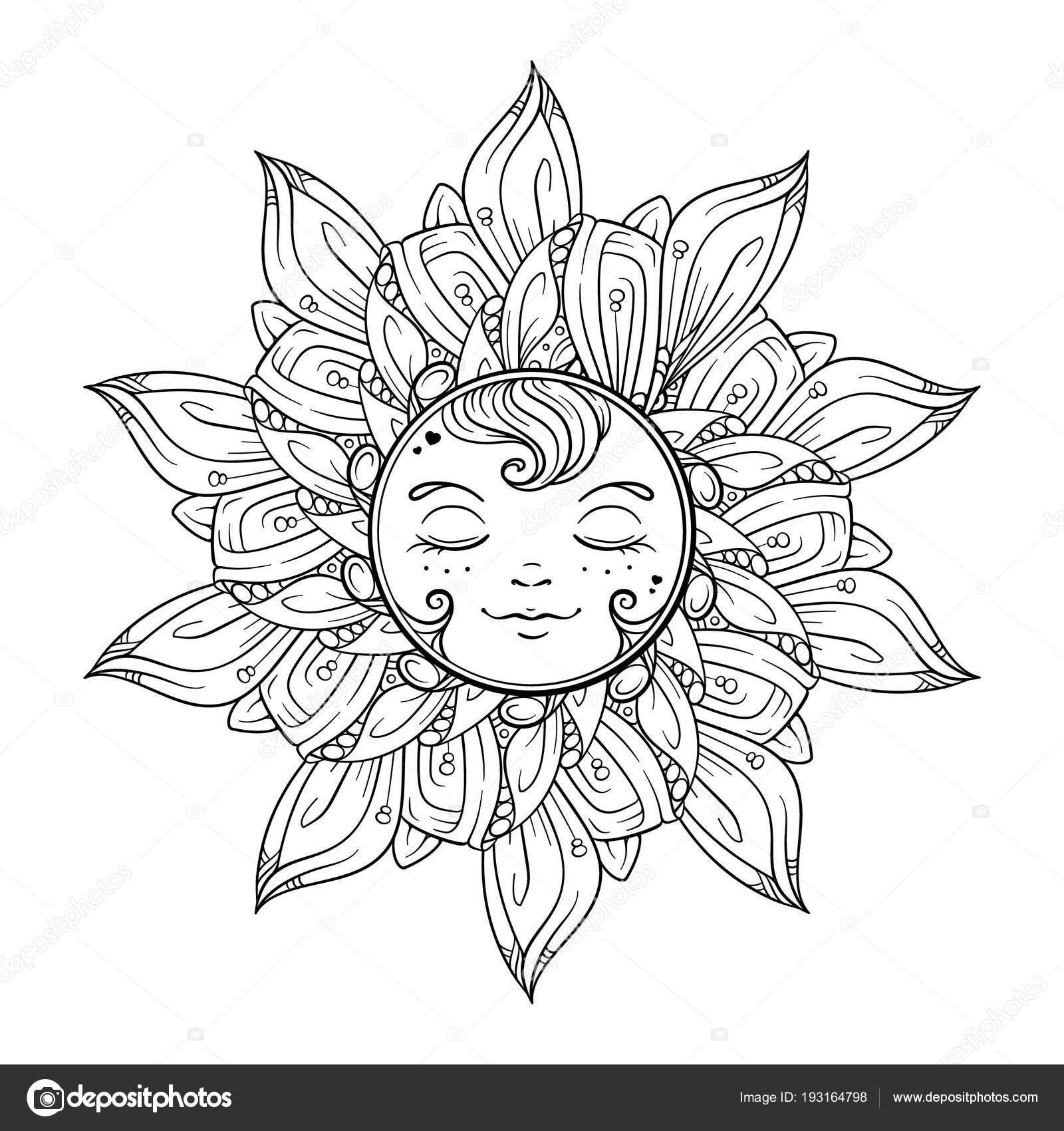 Black White Ornamental Sun Coloring Page — Stock Vector © Sablegear ...