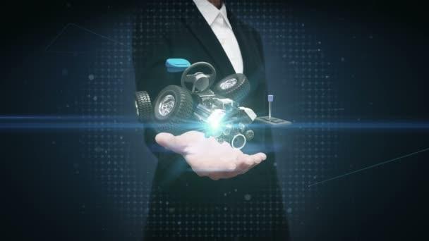 Podnikatelka otevřené dlaně, hybridní auto, elektronické, vodík, lithium ion baterie echo auto. Eco-friendly budoucí auto.