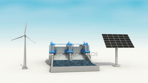 Szél turbina, generátor napenergia penel, power víztározó, zöld energy.1.