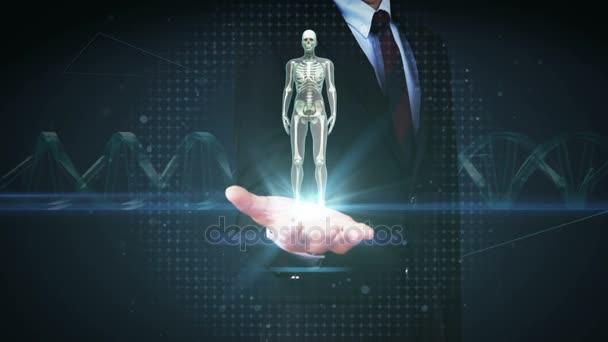 Offene Hand Geschäftsmann, rotierende weibliche menschliche Skelett ...
