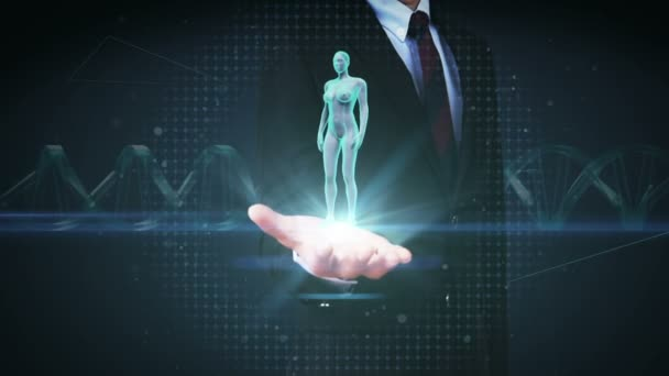 Podnikatel otevřít palm, zvětšení ženské lidské tělo skenování vnitřní orgány, trávicí systém. Modré světlo X-ray