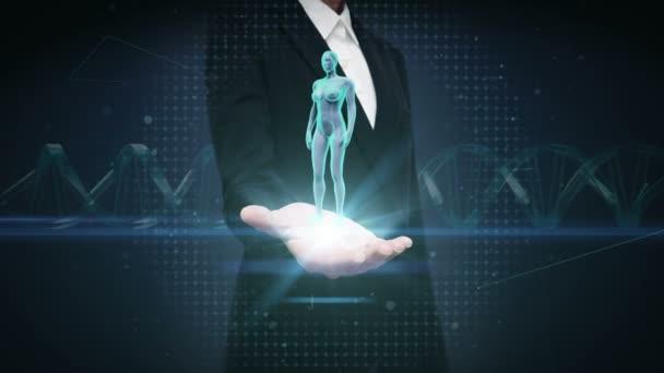 Podnikatelka otevřené dlaně, ženské lidské tělo skenování lymfatického systému. Modré světlo X-ray